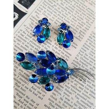Juliana Swarovski Rivoli blue and teal rhinestone demi parure vintage brooch and earrings set