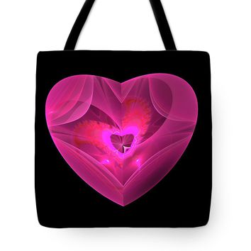 Red Heart With Pink Glow Tote Bag