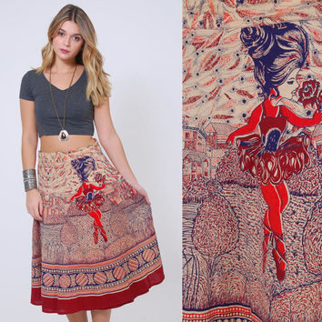 Vintage 70s INDIAN Wrap Skirt BALLERINA Print Hippie Skirt Cotton PRINTED Boho Skirt