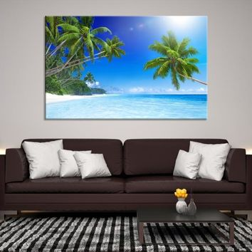 67897 -  Sea Landscape with Palm Trees Wall Art Canvas Print
