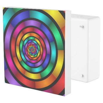 Round and Psychedelic Colorful Modern Fractal Art Outlet Cover