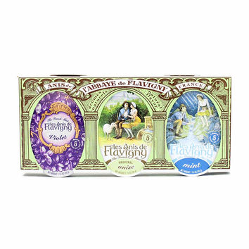 Les Anis de Flavigny Violet, Anise and Mint Candy (3 Tins)