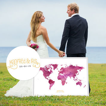 Wedding Guest Book Watercolor  World Map - Custom Color - Add Quote, Date - Wedding Decor - Personalized Guest Book Map - 051