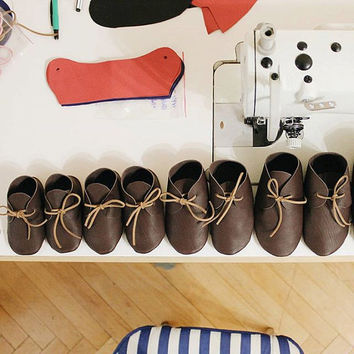 Unisex brown moccasins Baby first shoes