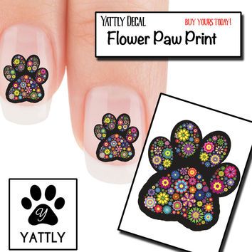 Flowery Paw Prints Nail Art ( NOW 50% MORE FREE)