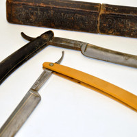 Antique Straight Edge Razors with Leather Box. 1800's Wade & Butcher, Sheffield England. 1920s Celluloid. Leather Box Made in Germany.