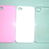 Iphone 4 and Iphone 4s case.DIY iphone 4/4s case stuff.white,clear and pink.3 pieces.or you can choose any colors.