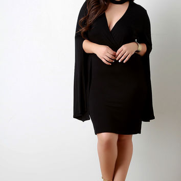 Choker Banded Surplice Open Sleeve Dress