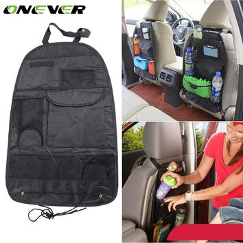 Onever Car Multi-Pocket Back Seat Storage Bag Seat Cover Auto Seat Back Organizer Cup Food Phone Waterproof Hanging Storage Bag