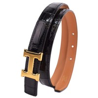 AUTHENTIC HERMES Mini H Belt 75 belt black/Gold Hardware Crocodile Women
