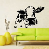 Cow Milk Funny Animal Wall Vinyl Decals Sticker Home Interior Decor for Any Room Housewares Mural Design Graphic Bedroom Wall Decal (5340)