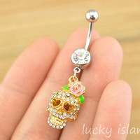 belly button jewelry,skull belly button rings,skull navel ring,steampunk belly ring,friendship skull bellyring