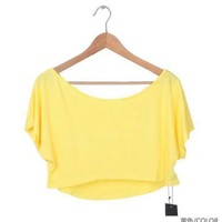 Women Euro Style Batwings Polo Loose Off Shoulder Yellow Stretch Cotton T-Shirt One Size@TS100602y $12.92 only in eFexcity.com.