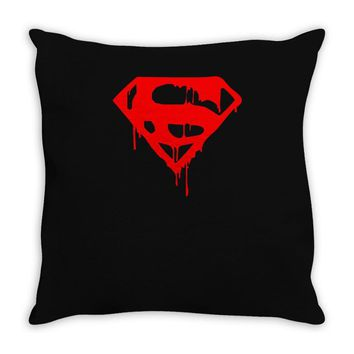 dripping blood superman Throw Pillow