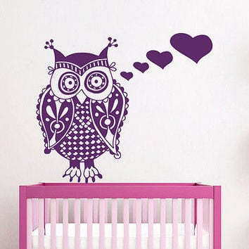 Wall Decals Owl Bird Heart Decal Nursery Room Bedroom Vinyl Sticker Decor MR404