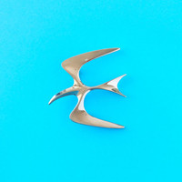 Seagull Bird Silver Brooch / Sarah Coventry brouch / Rhodium plated vintage brooch - abstract jewelry - vintage 50s brooch - bird lovers