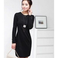Black Women Autumn New Style Korean Style Long Sleeve OL Slim Cotton Dress S/M/L/XL @WH0417b $20.99 only in eFexcity.com.