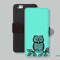 Owl on Mint Leather Wallet iPhone 6 case iPhone 6 plus case, Wallet cover iPhone 5s case iPhone 5c case Galaxy s3 s4 s5 C00069