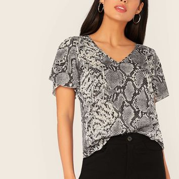 V-neck Snakeskin Print Top