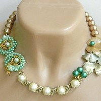 Green Recycled Jewelry Necklace Vintage Gold Short Statement Handmade