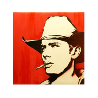 JAMES DEAN in RED 16x16 Original Painting on Canvas Graffiti and Pop Art Inspired Hollywood Portrait