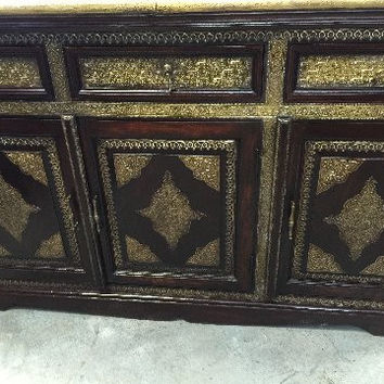 Vintage Sideboard Dresser Chest with Drawers Dresser Brass Accent Tv Console Cabinet Furniture
