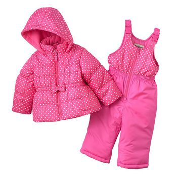 OshKosh B'gosh Polka-Dot Puffer Jacket & Bib Snow Pants Set - Baby