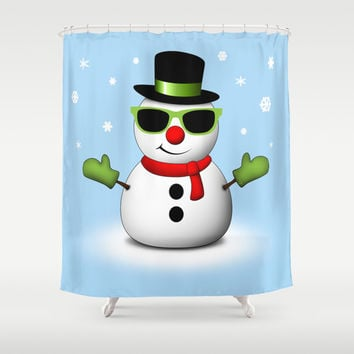 Cool Snowman with Shades and Adorable Smirk Shower Curtain by PLdesign