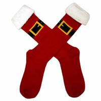 Santa's Buckle Red Novelty Christmas Socks