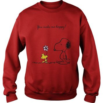 Snoopy and Woodstock you make me happy shirt Sweat Shirt