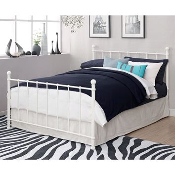 Full size White Metal Platform Bed Frame with Headboard and Footboard