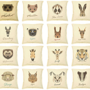 Portrait of Animals Printed Khaki Decorative Pillows Case VPLC_02 Size 18x18