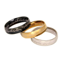 Ring of Power Gold Silver Black Lord Of The Rings 316l stainless steel ring for women  men wedding band fashion jewelry