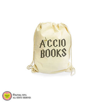 Accio books backpack-Harry Potter bag-Hogwarts bag-gym sack-gymsack-school drawstring backpack-school bag-college bag-by NATURA PICTA-NGS020