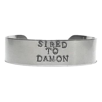 The Vampire Diaries Hand Stamped Sired To Damon Aluminum Cuff Bracelet