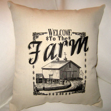 Welcome to the Farm Pillow, Shabby Chic Neutral Petite Cushion, Country Home Decor, Americana French Farmhouse Pillow with Barn, Typography