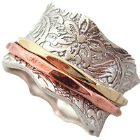 "Energy Stone ""BALANCE AND BEAUTY"" Etched Floral Meditation Spinner Ring (Style# 88)"