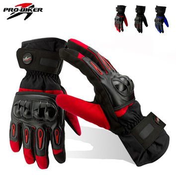NEW Winter Motorcycle Gloves Racing Waterproof Windproof Winter Warm Leather Cycling Bicycle Cold Guantes Luvas Ski Racing Glove
