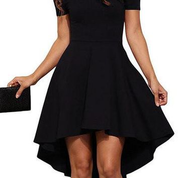 Black Off Shoulder Short Sleeve High Low Dress