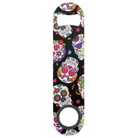 Colorful Sugar Skulls On Black Speed Bottle Opener