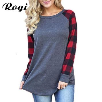 Rogi Women Tops and Blouses 2018 Fashion Plaid Printed Female Shirt Long Sleeve O-neck Autumn Blouse Blusas Plus Size Clothing