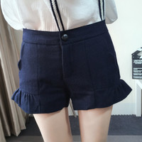 High-Waist Ruffled Woolen Shorts