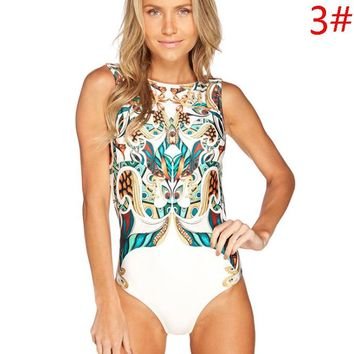 Summer Beach Swimming New Fashion Retro Swimsuit Straps One Piece Bikini