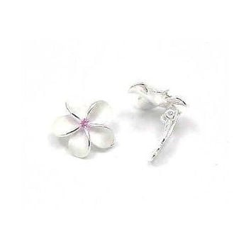 SILVER 925 HAWAIIAN PLUMERIA EARRINGS 18MM PINK CLIP ON