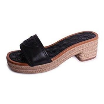 LMF3DS Tory Burch Fleming 50mm Slide Espadrille Black Leather