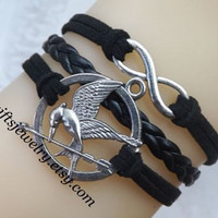 Hunger bird,games bracelet,Burning Girl,mocking,bird,jay bracelet,Leather Bracelet,charm bracelet,Friendship Gift