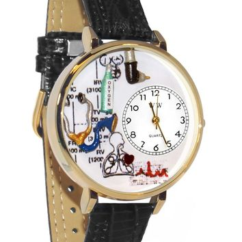 Respiratory Therapist Black Skin Leather And Goldtone Watch