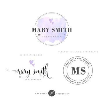 Watercolor heart logo, Photography Branding Kit, Handwritten logo, Photographer branding packge, Watermark, Elegant business set, Stamp  62