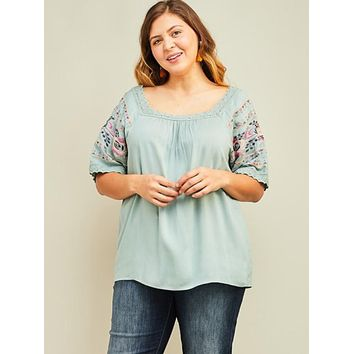 Plus Feeling Fabulous Embroidered Top