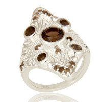 925 Sterling Silver Natural Smoky Quartz Gemstone Statement Ring